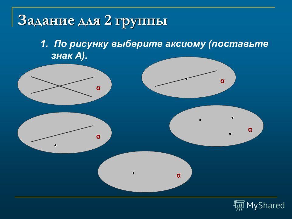 Задание для 2 группы 1. По рисунку выберите аксиому (поставьте знак А). α αααα