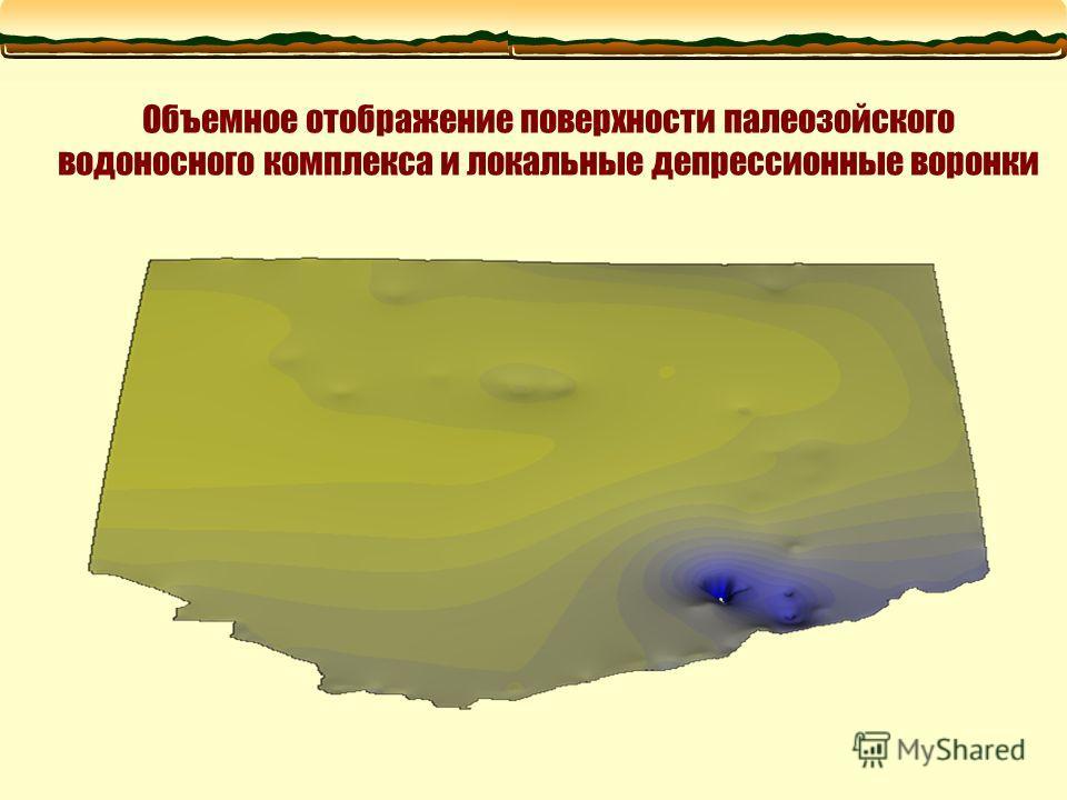 Объемное отображение поверхности палеозойского водоносного комплекса и локальные депрессионные воронки