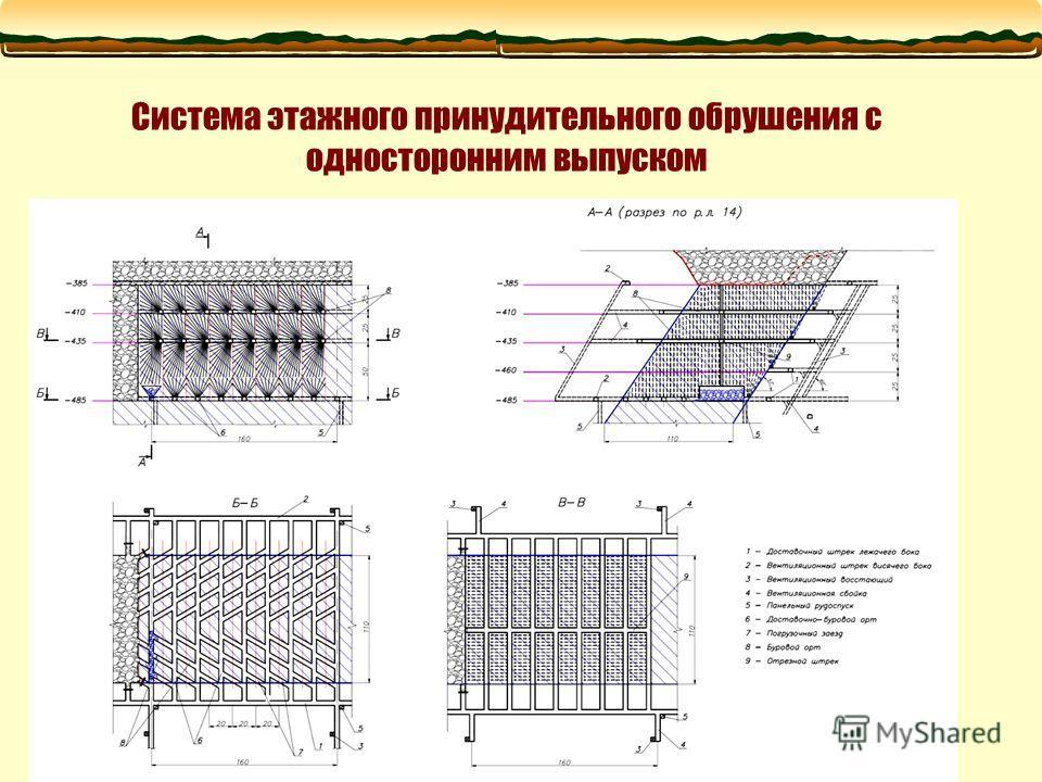 Система этажного принудительного обрушения с односторонним выпуском