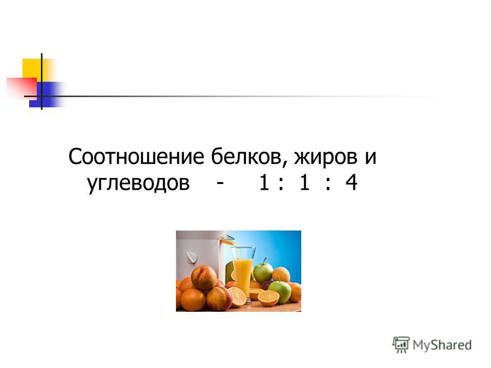 Соотношение белков, жиров и углеводов - 1 : 1 : 4