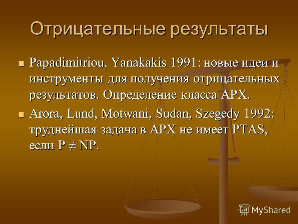 Отрицательные результаты Papadimitriou, Yanakakis 1991: новые идеи и инструменты для получения отрицательных результатов. Определение класса APX. Papadimitriou, Yanakakis 1991: новые идеи и инструменты для получения отрицательных результатов. Определ
