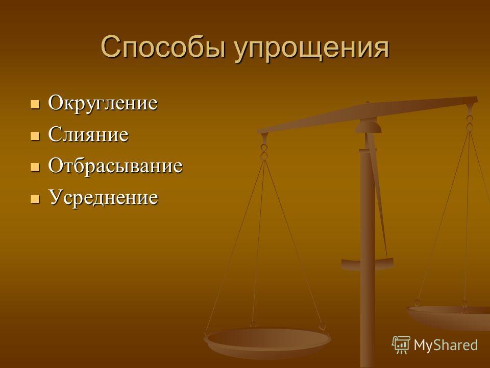 Способы упрощения Округление Округление Слияние Слияние Отбрасывание Отбрасывание Усреднение Усреднение