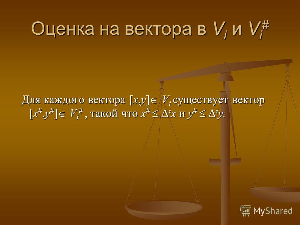 Оценка на вектора в V i и V i # Для каждого вектора [x,y] V i существует вектор [x #,y # ] V i #, такой что x # Δ i x и y # Δ i y. Для каждого вектора [x,y] V i существует вектор [x #,y # ] V i #, такой что x # Δ i x и y # Δ i y.
