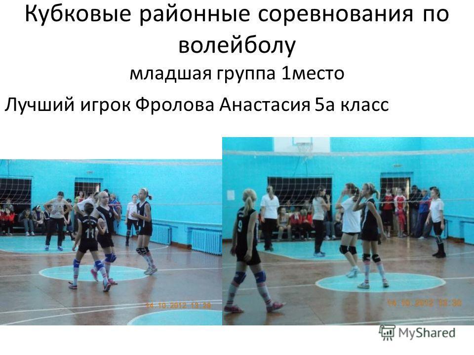 Кубковые районные соревнования по волейболу младшая группа 1место Лучший игрок Фролова Анастасия 5а класс