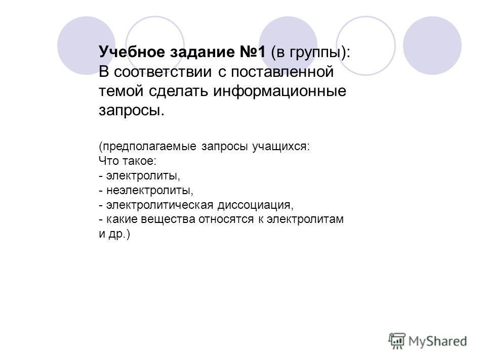 Учебное задание 1 (в группы): В соответствии с поставленной темой сделать информационные запросы. (предполагаемые запросы учащихся: Что такое: - электролиты, - неэлектролиты, - электролитическая диссоциация, - какие вещества относятся к электролитам