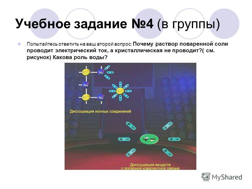 Учебное задание 4 (в группы) Попытайтесь ответить на ваш второй вопрос: Почему раствор поваренной соли проводит электрический ток, а кристаллическая не проводит?( см. рисунок) Какова роль воды?