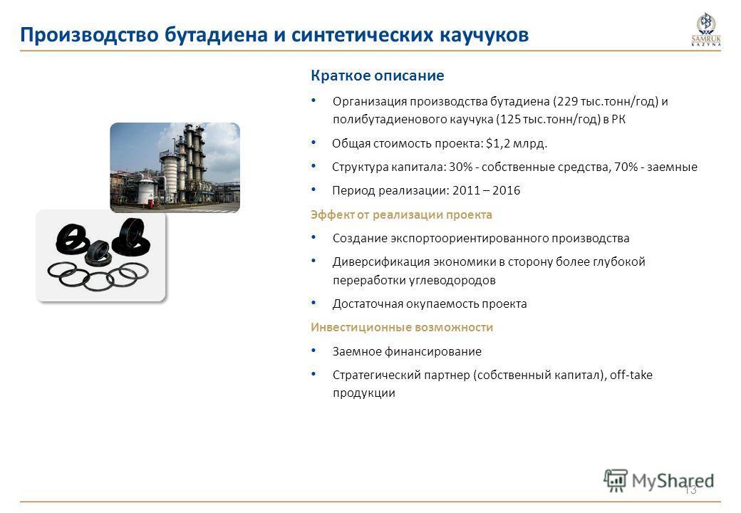 Производство бутадиена и синтетических каучуков Краткое описание Организация производства бутадиена (229 тыс.тонн/год) и полибутадиенового каучука (125 тыс.тонн/год) в РК Общая стоимость проекта: $1,2 млрд. Структура капитала: 30% - собственные средс