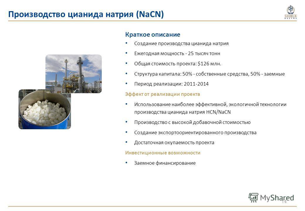 Производство цианида натрия (NaCN) Краткое описание Создание производства цианида натрия Ежегодная мощность - 25 тысяч тонн Общая стоимость проекта: $126 млн. Структура капитала: 50% - собственные средства, 50% - заемные Период реализации: 2011-2014