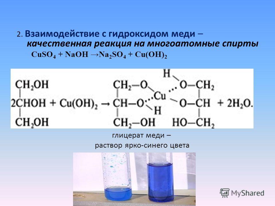 2. Взаимодействие с гидроксидом меди – качественная реакция на многоатомные спирты СuSO 4 + NaOH Na 2 SO 4 + Cu(OH) 2 глицерат меди – раствор ярко-синего цвета