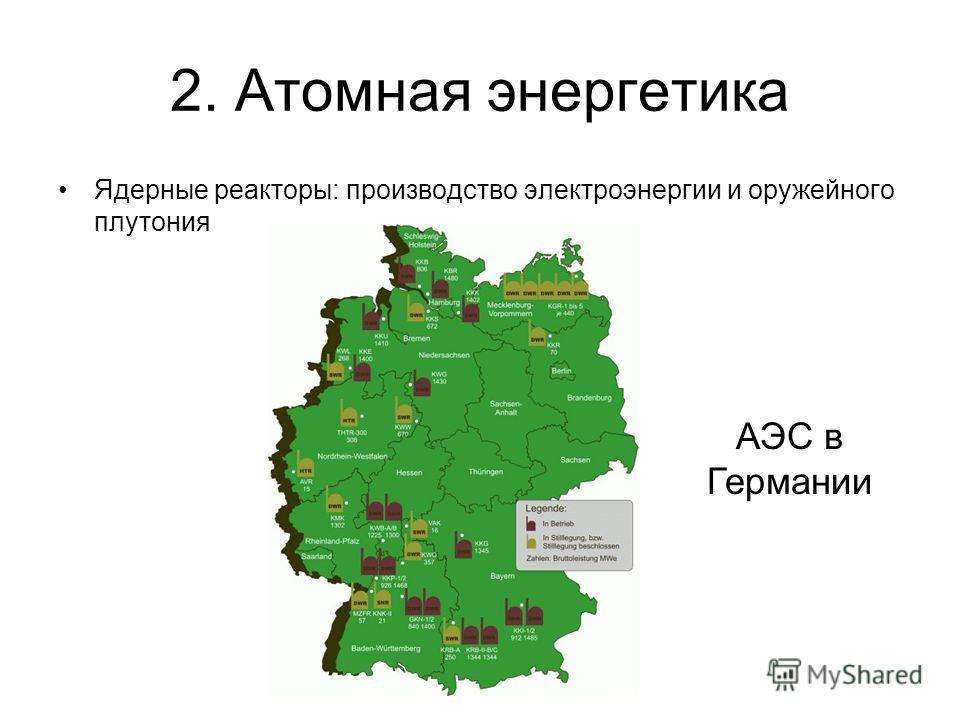 2. Атомная энергетика Ядерные реакторы: производство электроэнергии и оружейного плутония АЭС в Германии