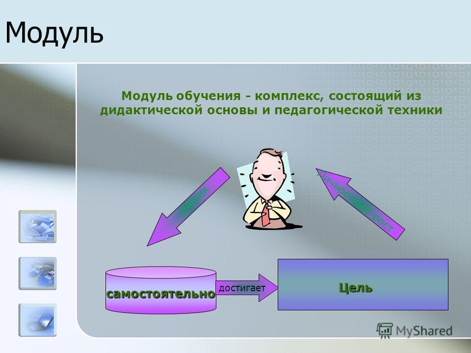 Модульсамостоятельно достигает Личностный рост ученик Цель Модуль обучения - комплекс, состоящий из дидактической основы и педагогической техники
