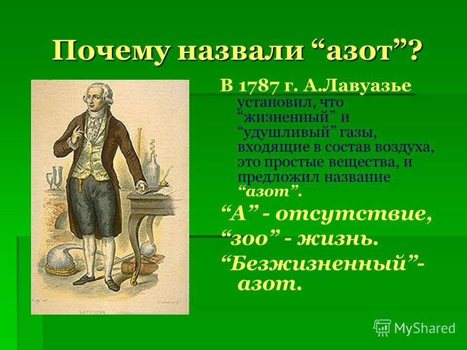 Почему назвали азот? В 1787 г. А.Лавуазье установил, что жизненный и удушливый газы, входящие в состав воздуха, это простые вещества, и предложил название азот. А - отсутствие, зоо - жизнь. Безжизненный- азот.