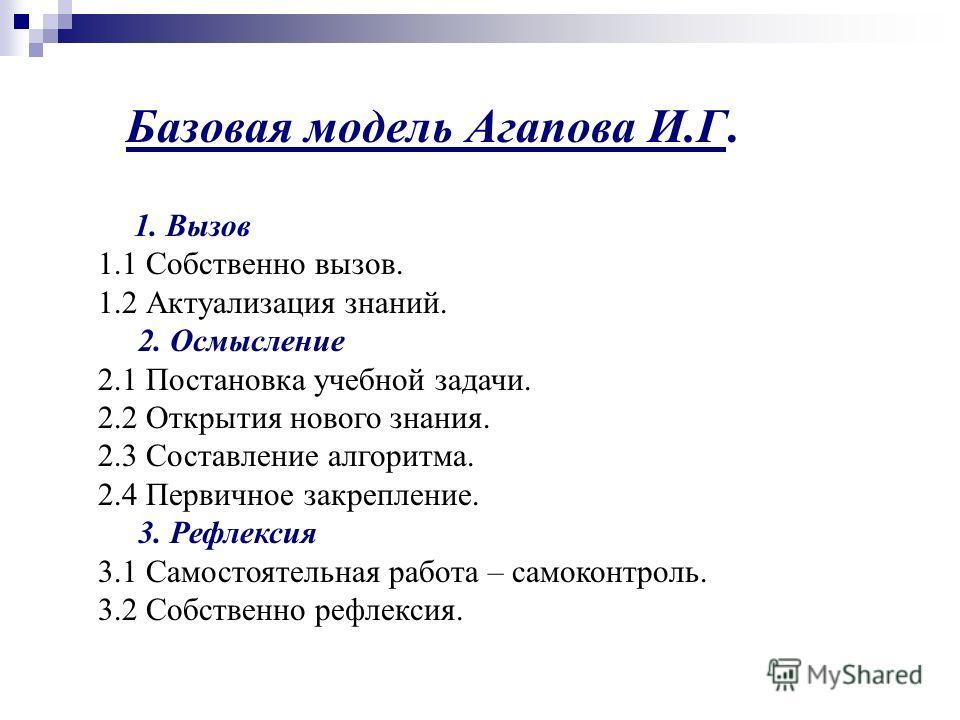 Базовая модель Агапова И.Г. 1. Вызов 1.1 Собственно вызов. 1.2 Актуализация знаний. 2. Осмысление 2.1 Постановка учебной задачи. 2.2 Открытия нового знания. 2.3 Составление алгоритма. 2.4 Первичное закрепление. 3. Рефлексия 3.1 Самостоятельная работа
