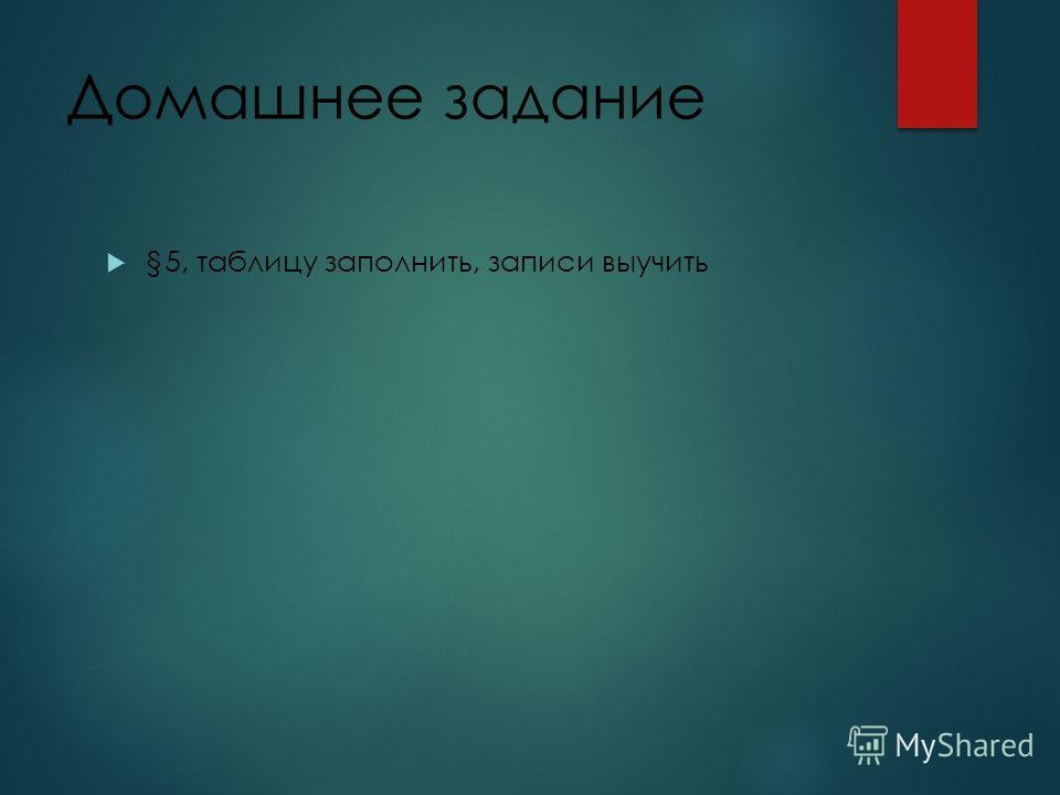 Домашнее задание §5, таблицу заполнить, записи выучить