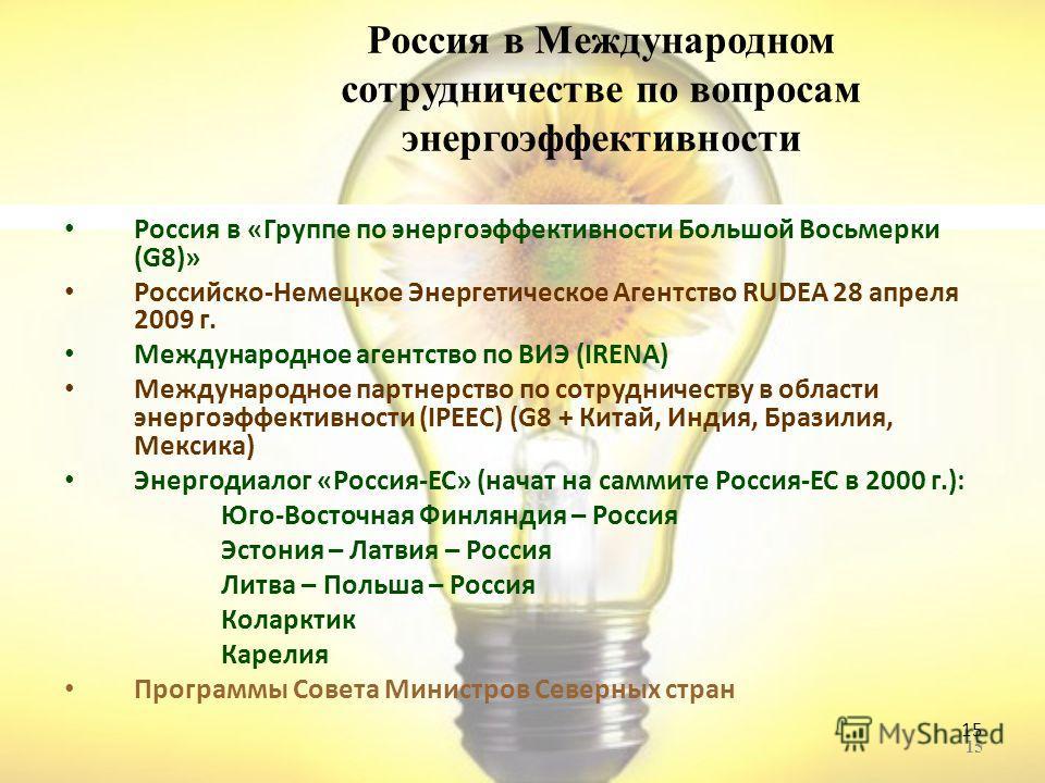 15 Россия в Международном сотрудничестве по вопросам энергоэффективности Россия в «Группе по энергоэффективности Большой Восьмерки (G8)» Российско-Немецкое Энергетическое Агентство RUDEA 28 апреля 2009 г. Международное агентство по ВИЭ (IRENA) Междун