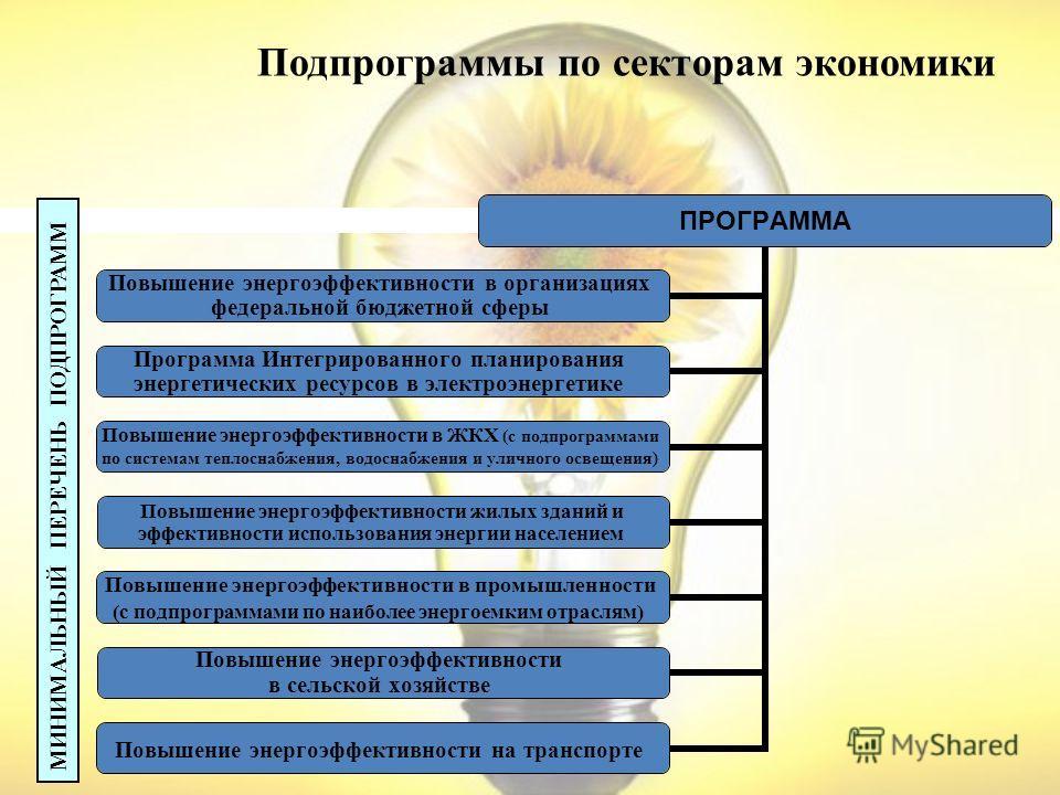 Подпрограммы по секторам экономики ПРОГРАММА Повышение энергоэффективности в организациях федеральной бюджетной сферы Программа Интегрированного планирования энергетических ресурсов в электроэнергетике Повышение энергоэффективности в ЖКХ (с подпрогра