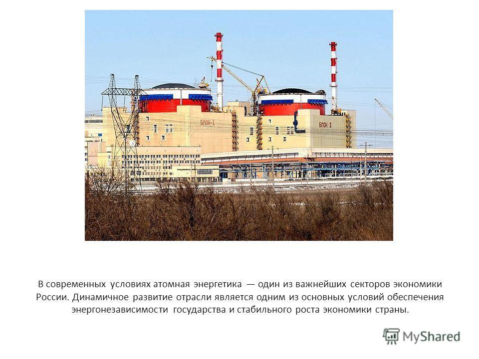 В современных условиях атомная энергетика один из важнейших секторов экономики России. Динамичное развитие отрасли является одним из основных условий обеспечения энергонезависимости государства и стабильного роста экономики страны.
