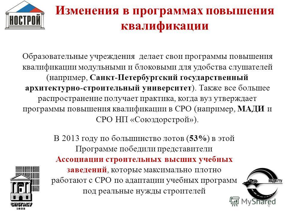 6 Изменения в программах повышения квалификации 2012 2013 Образовательные учреждения делает свои программы повышения квалификации модульными и блоковыми для удобства слушателей (например, Санкт-Петербургский государственный архитектурно-строительный
