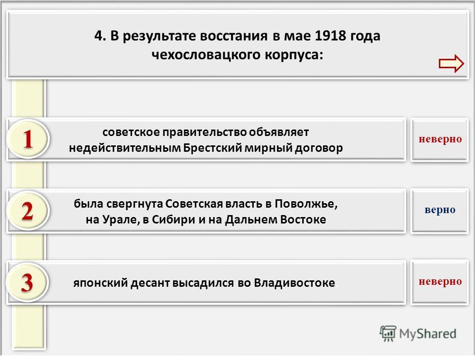 4. В результате восстания в мае 1918 года чехословацкого корпуса: 4. В результате восстания в мае 1918 года чехословацкого корпуса: японский десант высадился во Владивостоке. была свергнута Советская власть в Поволжье, на Урале, в Сибири и на Дальнем