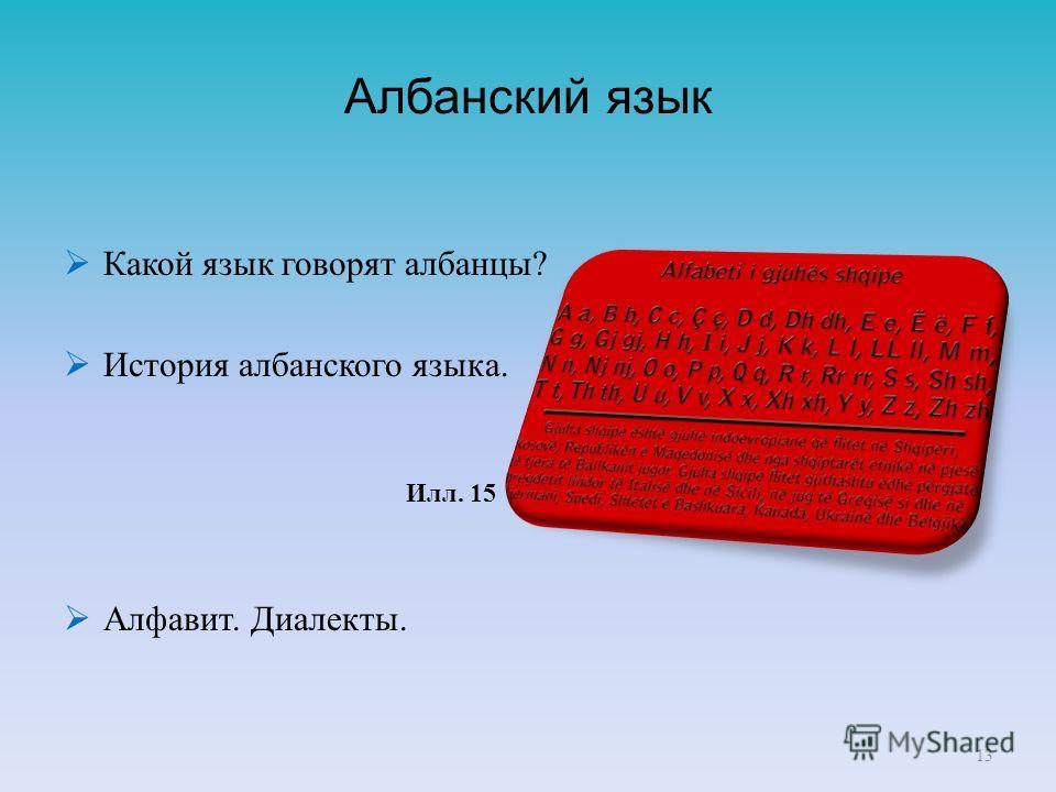 Албанский язык Какой язык говорят албанцы? История албанского языка. Алфавит. Диалекты. 13 Илл. 15