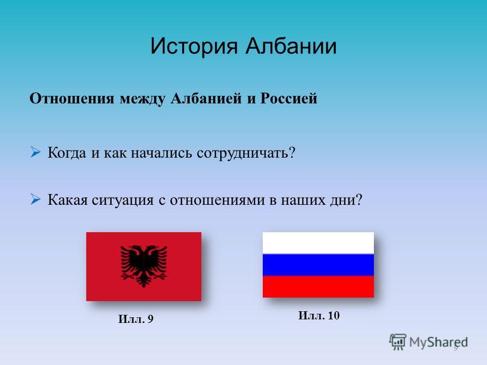 История Албании Отношения между Албанией и Россией Когда и как начались сотрудничать? Какая ситуация c отношениями в наших дни? 9 Илл. 9 Илл. 10