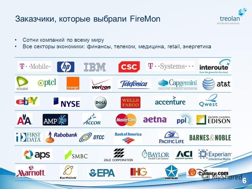 Заказчики, которые выбрали FireMon Сотни компаний по всему миру Все секторы экономики: финансы, телеком, медицина, retail, энергетика 6