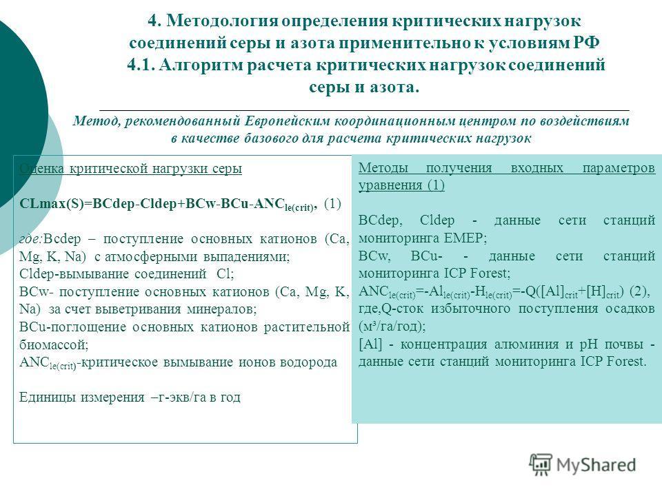 4. Методология определения критических нагрузок соединений серы и азота применительно к условиям РФ 4.1. Алгоритм расчета критических нагрузок соединений серы и азота. Метод, рекомендованный Европейским координационным центром по воздействиям в качес
