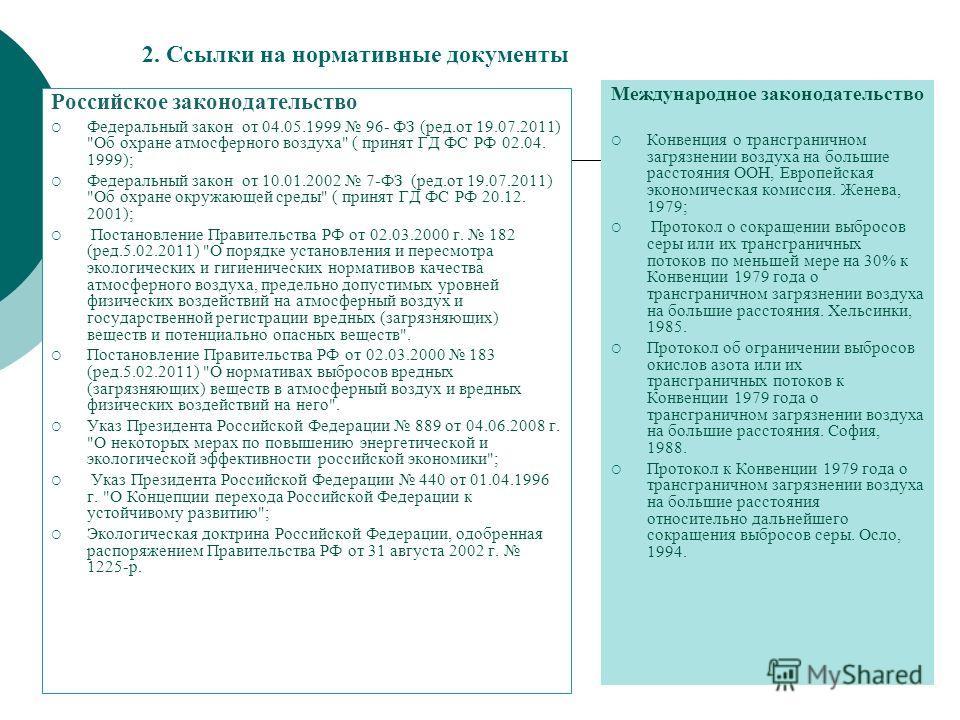 2. Ссылки на нормативные документы Российское законодательство Федеральный закон от 04.05.1999 96- ФЗ (ред.от 19.07.2011)