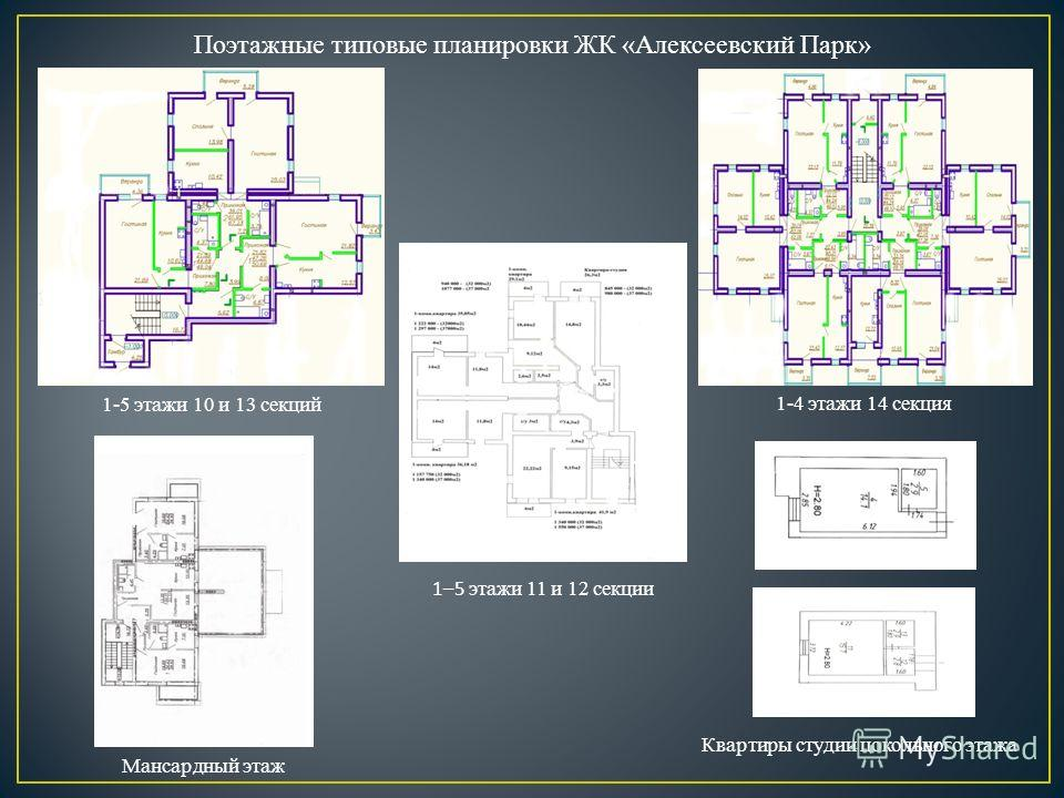 Поэтажные типовые планировки ЖК «Алексеевский Парк» Мансардный этаж 1–5 этажи 11 и 12 секции 1-5 этажи 10 и 13 секций 1-4 этажи 14 секция Квартиры студии цокольного этажа