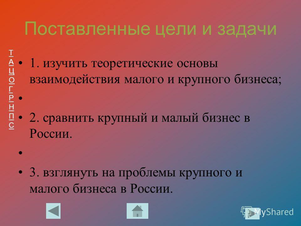 ТАЦОГРНПСТАЦОГРНПС Поставленные цели и задачи 1. изучить теоретические основы взаимодействия малого и крупного бизнеса; 2. сравнить крупный и малый бизнес в России. 3. взглянуть на проблемы крупного и малого бизнеса в России.