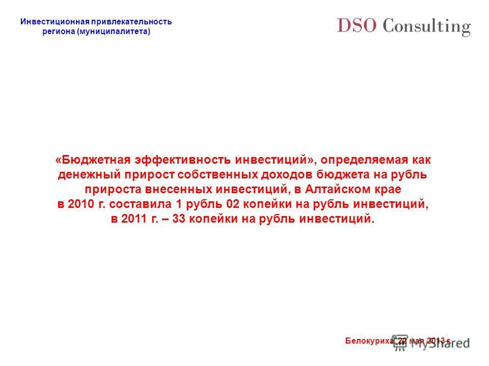 Инвестиционная привлекательность региона (муниципалитета) Белокуриха, 22 мая 2013 г. «Бюджетная эффективность инвестиций», определяемая как денежный прирост собственных доходов бюджета на рубль прироста внесенных инвестиций, в Алтайском крае в 2010 г