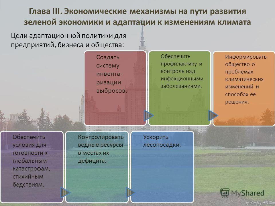 Глава III. Экономические механизмы на пути развития зеленой экономики и адаптации к изменениям климата Обеспечить условия для готовности к глобальным катастрофам, стихийным бедствиям. Контролировать водные ресурсы в местах их дефицита. Ускорить лесоп