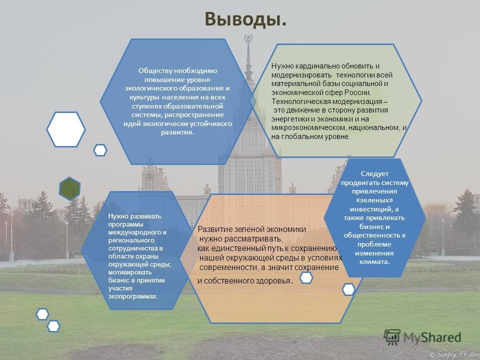 Выводы. Следует продвигать систему привлечения «зеленых» инвестиций, а также привлекать бизнес и общественность к проблеме изменения климата. Обществу необходимо повышение уровня экологического образования и культуры населения на всех ступенях образо