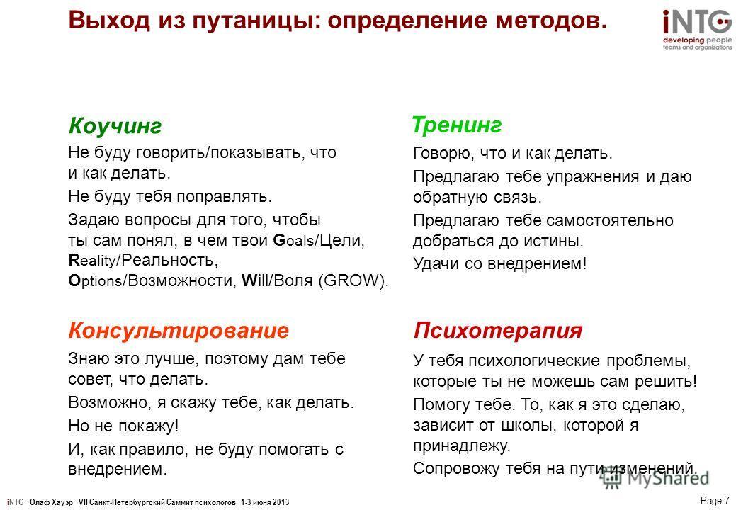 iNTG · Олаф Хауэр · VII Санкт-Петербургский Саммит психологов · 1-3 июня 2013 Page 7 Выход из путаницы: определение методов. Знаю это лучше, поэтому дам тебе совет, что делать. Возможно, я скажу тебе, как делать. Но не покажу! И, как правило, не буду