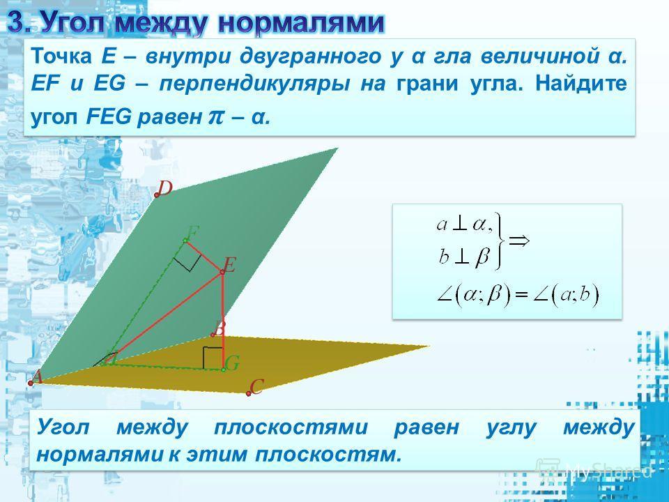 Точка Е – внутри двугранного у α гла величиной α. EF и EG – перпендикуляры на грани угла. Найдите угол FEG равен π – α. Угол между плоскостями равен углу между нормалями к этим плоскостям.