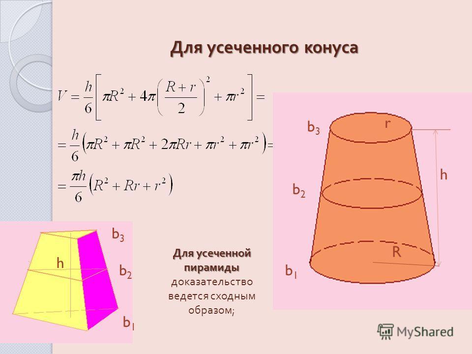 Для усеченного конуса h b3b3 b2b2 b1b1 r R Для усеченной пирамиды Для усеченной пирамиды доказательство ведется сходным образом ; h b3b3 b2b2 b1b1