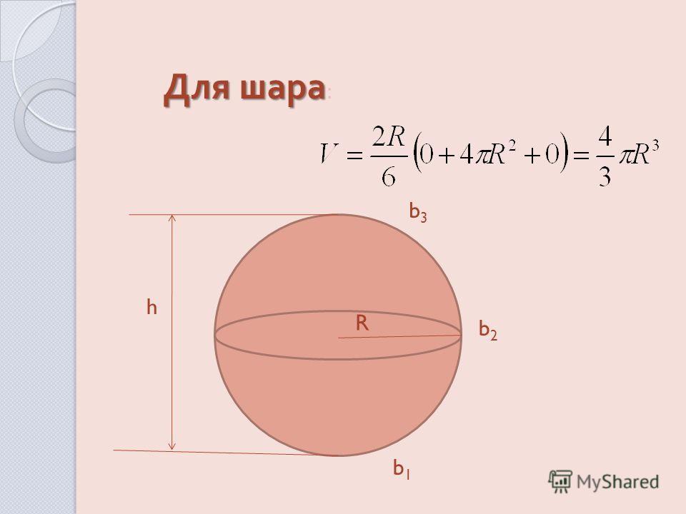 Для шара Для шара : h R b3b3 b2b2 b1b1