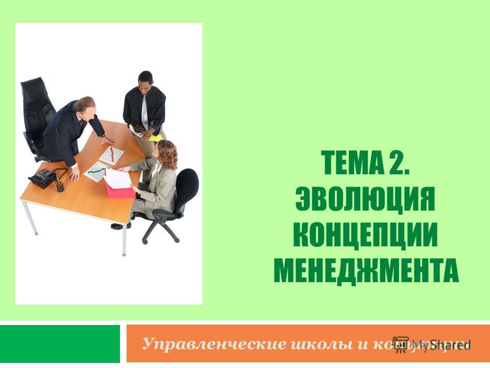 ТЕМА 2. ЭВОЛЮЦИЯ КОНЦЕПЦИИ МЕНЕДЖМЕНТА Управленческие школы и концепции