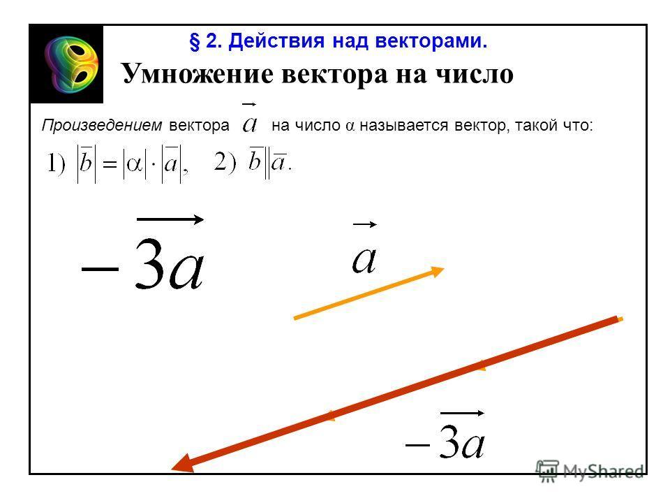 § 2. Действия над векторами. Умножение вектора на число Произведением вектора на число α называется вектор, такой что: