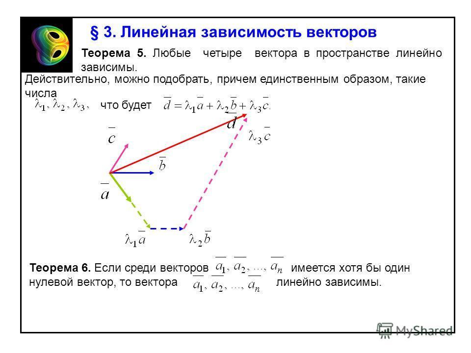 § 3. Линейная зависимость векторов Теорема 5. Любые четыре вектора в пространстве линейно зависимы. Действительно, можно подобрать, причем единственным образом, такие числа что будет Теорема 6. Если среди векторов имеется хотя бы один нулевой вектор,