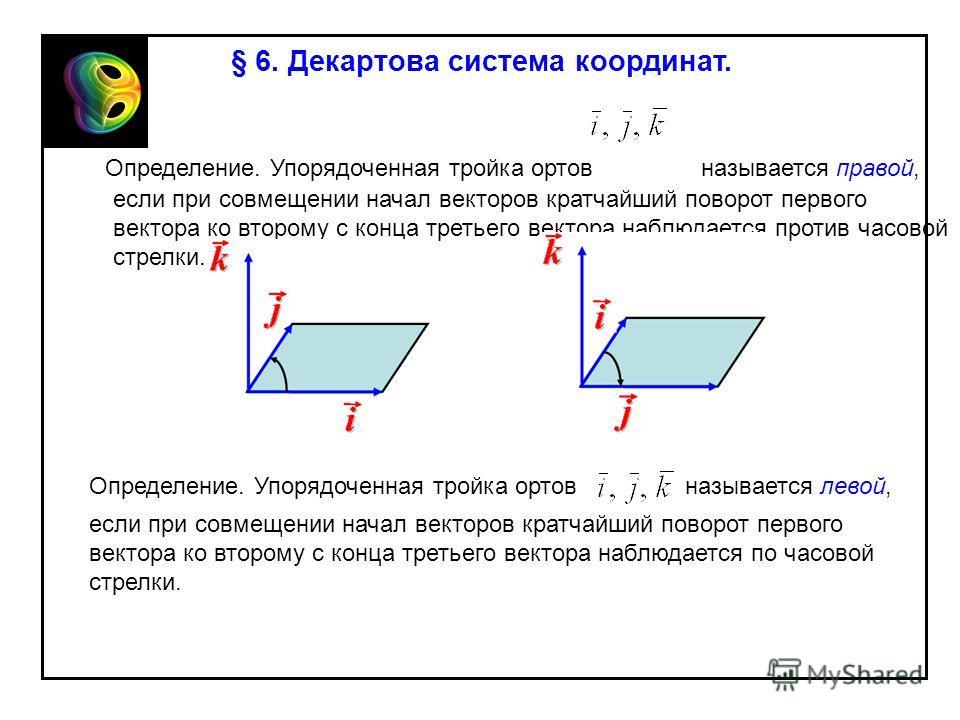 § 6. Декартова система координат. Определение. Упорядоченная тройка ортов называется правой, если при совмещении начал векторов кратчайший поворот первого вектора ко второму с конца третьего вектора наблюдается против часовой стрелки. Определение. Уп
