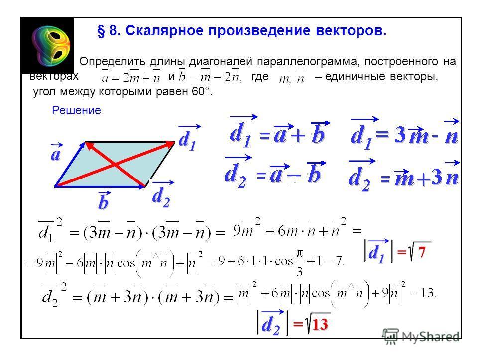 § 8. Скалярное произведение векторов. Определить длины диагоналей параллелограмма, построенного на векторах игде угол между которыми равен 60°. – единичные векторы, Решение