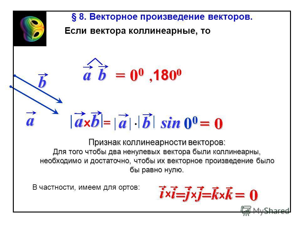 absin b 00000000 ab = 00= 00= 00= 00 § 8. Векторное произведение векторов. Признак коллинеарности векторов: Для того чтобы два ненулевых вектора были коллинеарны, необходимо и достаточно, чтобы их векторное произведение было бы равно нулю. a Если век