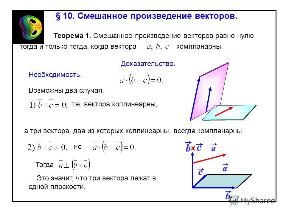 § 10. Смешанное произведение векторов. Теорема 1. Смешанное произведение векторов равно нулю тогда и только тогда, когда вектора компланарны. Доказательство. Необходимость. Возможны два случая. т.е. вектора коллинеарны, а три вектора, два из которых
