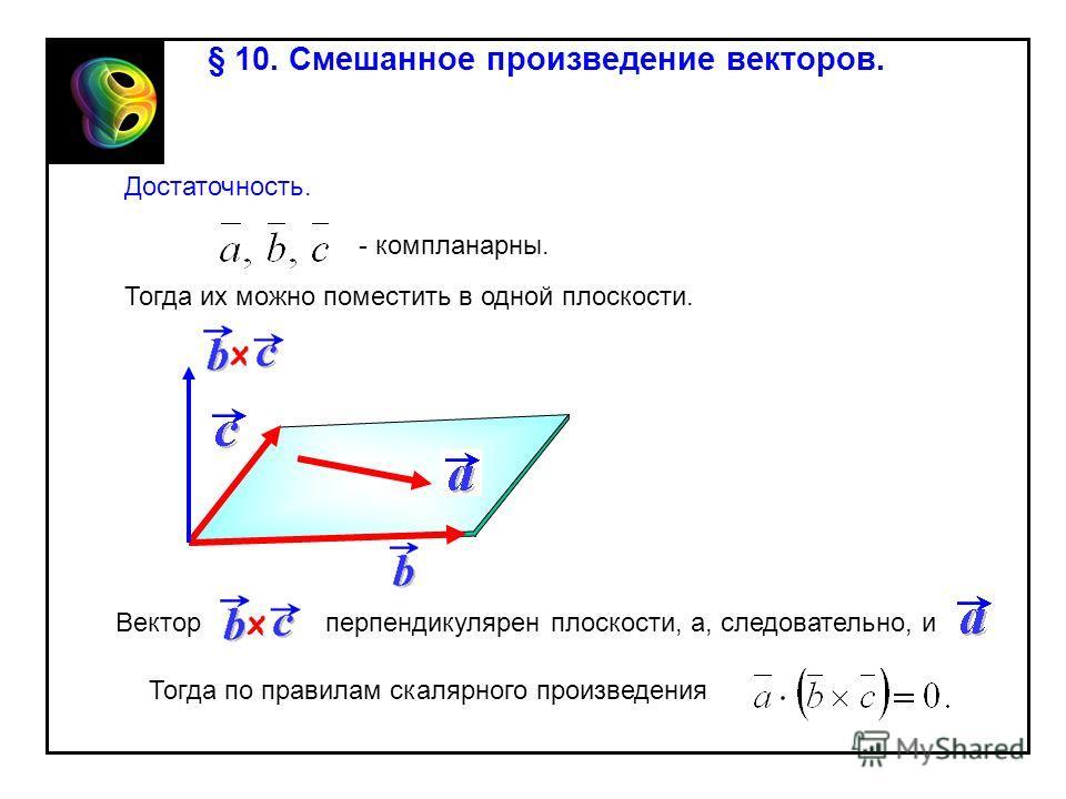 § 10. Смешанное произведение векторов. Достаточность. - компланарны. Тогда их можно поместить в одной плоскости. Векторперпендикулярен плоскости, а, следовательно, и Тогда по правилам скалярного произведения