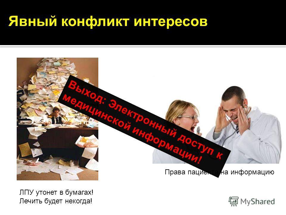 Явный конфликт интересов ЛПУ утонет в бумагах! Лечить будет некогда! Права пациента на информацию Выход: Электронный доступ к медицинской информации!