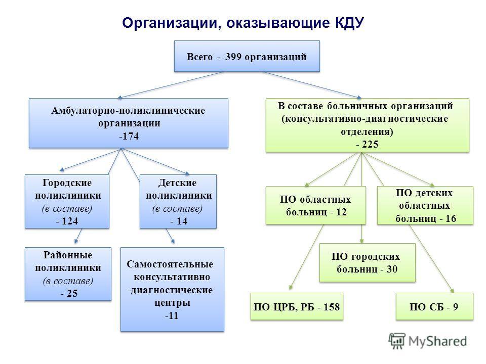 Организации, оказывающие КДУ Амбулаторно-поликлинические организации -174 Амбулаторно-поликлинические организации -174 В составе больничных организаций (консультативно-диагностические отделения) - 225 В составе больничных организаций (консультативно-
