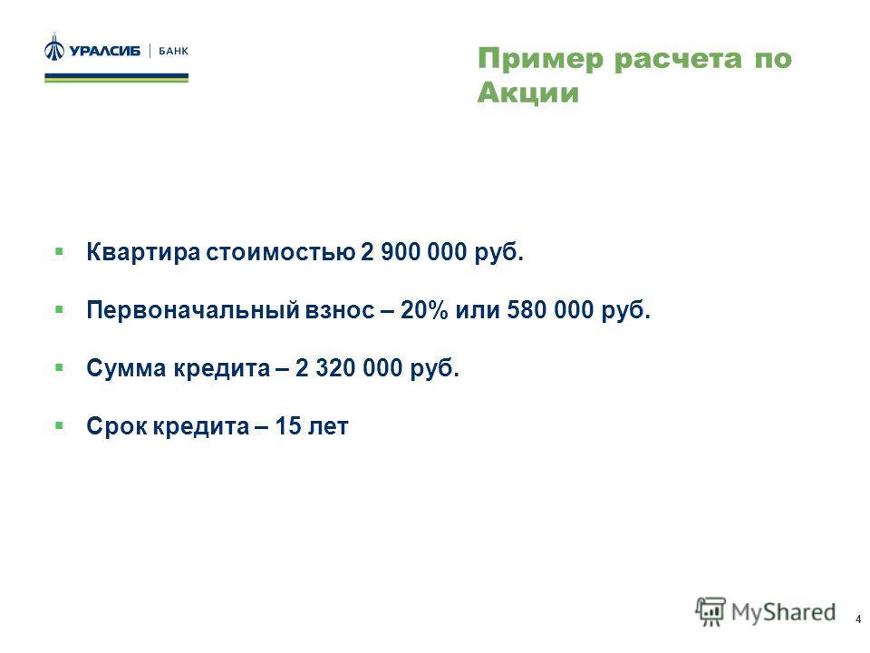 4 Квартира стоимостью 2 900 000 руб. Первоначальный взнос – 20% или 580 000 руб. Сумма кредита – 2 320 000 руб. Срок кредита – 15 лет Пример расчета по Акции