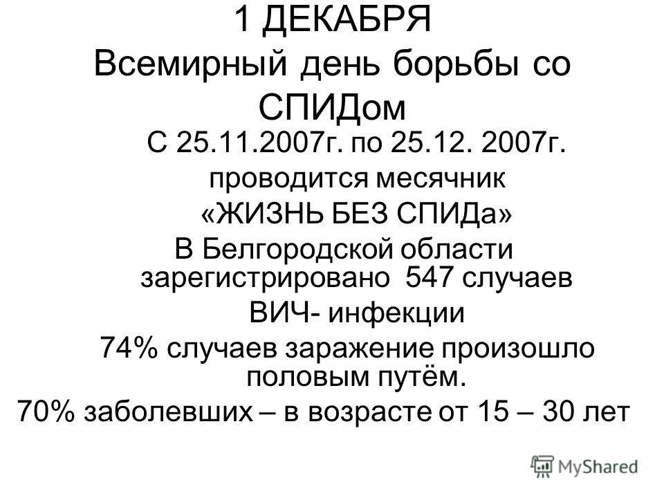1 ДЕКАБРЯ Всемирный день борьбы со СПИДом С 25.11.2007г. по 25.12. 2007г. проводится месячник «ЖИЗНЬ БЕЗ СПИДа» В Белгородской области зарегистрировано 547 случаев ВИЧ- инфекции 74% случаев заражение произошло половым путём. 70% заболевших – в возрас