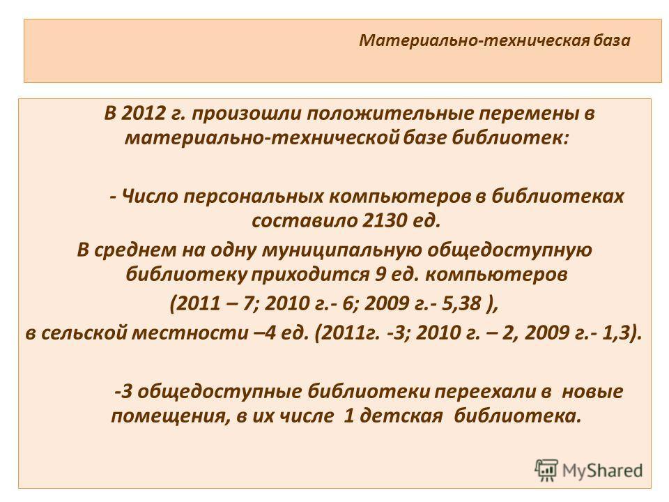 Материально-техническая база В 2012 г. произошли положительные перемены в материально-технической базе библиотек: - Число персональных компьютеров в библиотеках составило 2130 ед. В среднем на одну муниципальную общедоступную библиотеку приходится 9